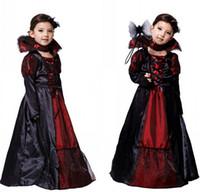 baby girl vampire costume - Discounted Children Costumes Girls Sexy Halloween Carnival Party Queen Floor Length Dress Baby Kids Vampire Cosplay Party Dress