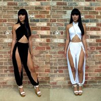 overalls - Cut Open Hole Hollow Out Jumpsuit Women Bandage Rompers Sexy Bodycon Bodysuit Party Overalls White Club Wear Plus Size SML