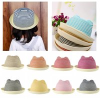 Wholesale Cute Kids Boys Striped Straw Summer Girls Sun Hat with Ears Stripes Rolled Brim Domed Cap Kids Sun Hats Headwear for Children GA0069
