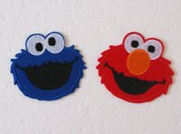 iron on patches for kids - New cartoon Embroidered Iron On Patch Applique DIY Accessory for kids Badge Elmo Cookie monster cm