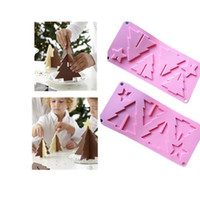Wholesale 2PCS New Silicone Christmas Tree Shape Fondant Mould Cake Decorating Chocolate Baking Mold Sugarcraft Tool