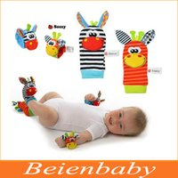 Wholesale DHL Shipping New Lamaze Style Sozzy rattle Wrist donkey Zebra Wrist Rattle and Socks toys set wrist socks