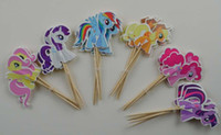 paper cupcake box - 480pcs My little Pony Cupcake Topper Picks children birthday party decorations Magic ponies topper picks kid evnent party favors