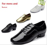 leather soles for shoes - Professional leather latin dance shoes for men boys fashion mens boys cm heel Indoor Soft leather soles ballroom dance shoes