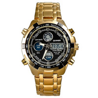 Wholesale QUAMER Military Watches Men Luxury Brand Full steel Watch Sports Fashion Quartz Multi function LED Display Wristwatch Relogio Masculino