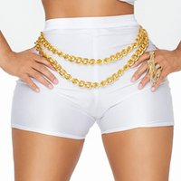 Wholesale Women Black White disco shorts fitness workout shorts with Gold Metal Chain sports fitness shorts High Waist Elasticity Shorts S M L