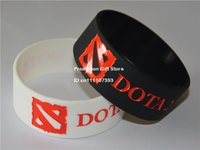 Wholesale DOTA Silicon Wristband Bracelet for Games Fans Promotion Gift Adult Black White quot Wide