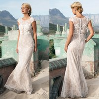 Wholesale 2015 lace wedding dresses jewel neckline sheath floor length capped sleeves ivory lace nude underneath beach style wedding gowns