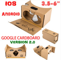 Wholesale Newest Google Cardboard V2 D Glasses VR Valencia Quality Max Fit Inch for Smartphone IOS Android iphone S plus S S6 edge DHL