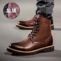 Cheap New Arrival Fashion Bullock shoes,Handmade super warm Genuine leather winter boots Men,Casual British style Snow boots for men