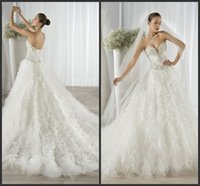 Cheap Wedding Dresses Lace Up Back Ball Gown 2016 Sheer Sweetheart Neckline Demetrios Beaded Tulle Ruffled Bridal Gowns EG 652 Chapel Train