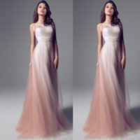 Wholesale Sheer Neck Strapless Pink Ombre Sheath Prom Dresses Long Floor Length Chiffon Tulle Wedding Party Dresses Formal Evening Dresses Custom