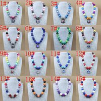 Pendant Necklaces baby tin - 26 styles New Children Chunky Necklaces Pendants Beaded Necklace Girls Kids Child Baby Toddler Jewelry Charm Christmas Gift