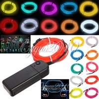 Wholesale 2015 Newest M Multicolor EL Wire Tube Rope Battery Powered Flexible Neon Light Car Party Decor With Controller