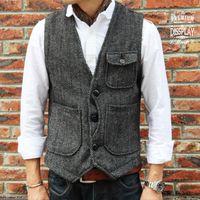 Wholesale 2015 V Neck men s cotton Herringbone Vest Designer Inspired black Herringbone vest Quilted Cotton Puffer Vest Size S XL