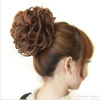 Wholesale New Fashion Womens Girls Wavy Curly Donut Hair Bun Synthetic Hair Extension Ladies Hair Bun Cover Bun Cage Bun Hairpiece FJ02