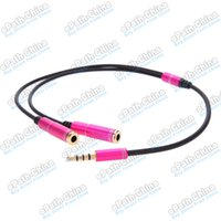 Wholesale 3 mm Audio Aux Cable Line Male to Two Female Stereo Jack Adapter Earphone Extension Headphone Splitter Cord Gold Plated for Cellphone