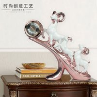 Wholesale Alarm clock ornament leopard living room desk clock practical crafts ornaments European TV cabinet shipping