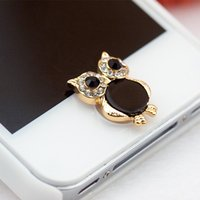 Wholesale 1pc Cute Owl Shaped Home Button Sticker Mobile Phone Keypad for Iphone Small Cellphone Decorative Accessory for Women