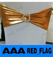 Wholesale Metallic Gold Spandex Chair Bands With Diamond Buckle Chair Cover Sash Chair Band In Chair Cover For Wedding Events Decoration LLFA