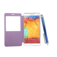 Cheap New Pen+Screen Film+Flip PU Leather Battery Housing Case Cover for Samsung N9000 Galaxy Note3 Smart View Function PA1571