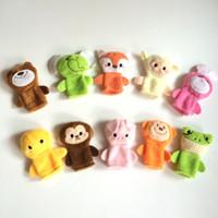 Wholesale 10pcs set CM Infant Boys Girls Plush Animal Finger Toys Kids Baby Soft Elephant Monkey Pig Duck Lovely Dolls Christmas Gift Set H2466