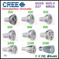 Wholesale Ultra Bright GU10 MR16 GU5 E27 E14 CREE Dimmable V V LED spotlight lamp bulb W W W W W W W W Led lamp X