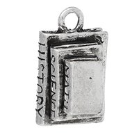 antique history - Charm Pendants Book Antique Silver Message Pattern quot MATH SCIENCE HISTORY quot Carved mm quot x mm quot new