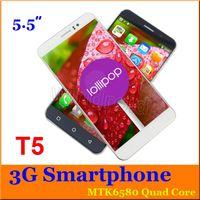Ebook blanc Prix-Quad Core 5,5 pouces T5 MTK6580 4Go 512M RAM Android 5.1 3G HDC Smart Phone Dual Sim GPS Wifi 960 * 540 Appareil photo gratuit avec cas d'or blanc noir