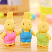 Wholesale 27pcs pack Random Color Cartoon Cute Bib Rabbit Eraser Creative Stationery Disassembly Students Prizes Pencil Eraser