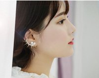 Cheap TE1287 Hot Sale punk rivet Ear Clip Sweet Style Fashion crystal pearl Clip On Ear Cuff Earring for women
