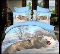 animal comforter set price - comfer set D four sets of three dimensional landscape painting animal Snow White Wolf bedspread bedding sets special price