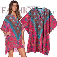 western dresses - Western Women s Vintage Floral Dresses New Spring Summer V neck Loose Casual kimono dress