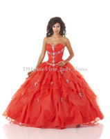Wholesale Dress For Years Symmetrical Decoration Ruffles Beads Cheap Ball Gown masquerade Quinceanera Dresses Prom Dresses vestido de anos Red