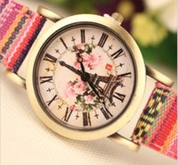 china watches - 100PCS New women ladies rose flower printing weave wove quartz watches fashion style retro vintage dress wrist watches china wristwatch