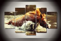 bathing mirror frames - 5Pcs With Framed Printed horse bathing Painting on canvas room decoration print poster picture canvas framed asian wall art