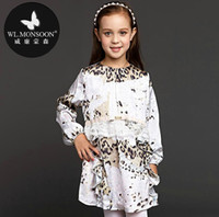 high end clothing - WL MONSOON Gilrs Lace Dress and Retail Children Autumn Clothing Long Sleeve High End Leopard Dresses Occident Style Cotton
