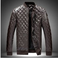 Wholesale Fall M XL New Men s Leather Jacket Men leather Jaqueta Couro Masculino Bomber Biker leather Jackets For Men Skin Jacket Coat