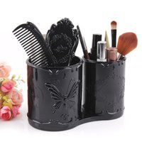 Wholesale Makeup Cotton Box Cotton Pad Storage Holder Double Pen Container Box Organizer Jewelry Case Tray Vintage Carved Butterfly Woman Gift Retro