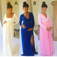baby showers pictures - 2015 Latest Sexy Maternity Dresses with Side Slit V neck Royal Blue Baby Shower Long Sleeve Pregnant Dresses Champagne women evening dresses