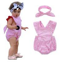 girls leotard - 70 cm Summer striped leotard headband Children bandage Newborn cotton bag fart Romper Climb clothes sets R17