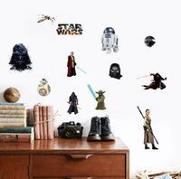 bb live - 2016 New star wars wall stickers BB Yoda Darth vader D wallpapers wall decals children removable novelty wallpaper for kids room RK4757