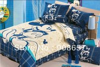 bag sheets - blue beige mickey mouse character bedding twin full queen king size comforter cotton quilt duvet covers bed in a bag sheets set