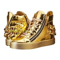discount name brand shoes - luxury brand name top quality with box dust bag gold chain leather women men sneakers trainer Crocodile shoes discount