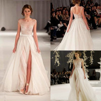 best strap lines - Cheap In Stock Wedding Dresses Paolo Sebastian Best Selling Ivory Wedding Gowns Custom Made Bridal Dresses Tulle Front Split Sequins Beaded