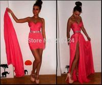 achat en gros de la plupart des morceaux-Le plus populaire Sexy Sweetheart jupe amovible strass haute fente étage longueur chiffon robe rouge Coral Prom Dresses 2015 robes formelles