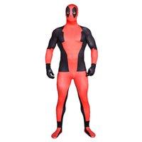 spandex body suit - Adult Superhero Costume Deadpool Zentai Full Body Suit Lycra Unitard Lycra Spandex nd Skin Bodysuit Catsuit Halloween Costumes