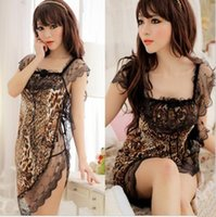 Wholesale 2014 New Leopard Uniform Sexy Lingerie Hot Set Sleepwear Home Wear Sex G String Costume Nightdress No