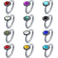 Wholesale 925 sterling sliver pandora ring love birthday stone pandora rings European prue silver for women pandora jewelry colors jewellery