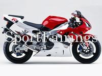 achat en gros de yamaha r1 blanc rouge-Carrosserie pour Yamaha YZF1000 1998 1999 98 99 R1 Carénages d'ABS d'injection Kit de carénage de moto Injection R1 Plastics Capot Rouge Blanc